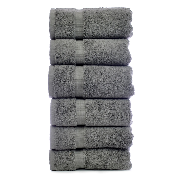 Picture of Luxury Hotel & Spa Towel 100% Genuine Turkish Cotton Hand Towels - Gray - Dobby Border  - Set of 6